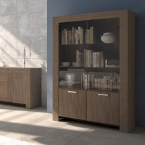 MAX 4 DR CABINET ECLIPSE ELM W/2 GLASS DOORS 202M10E