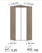 MASTER CORNER WARDROBE ECLIPSE ELM/WHITE GLOSS .92.58.160