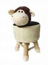 KIDS STOOL SHEEP DESIGN WOOD 55X28CM